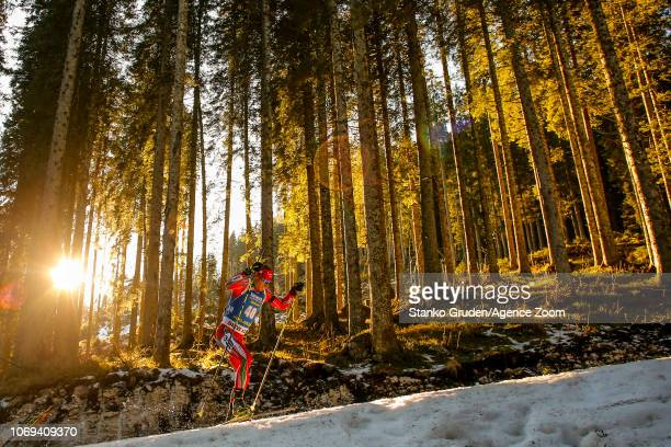 Krasimir Anev of Bulgaria in action during the IBU Biathlon World Cup Men's Sprint on December 7 2018 in Pokljuka Slovenia