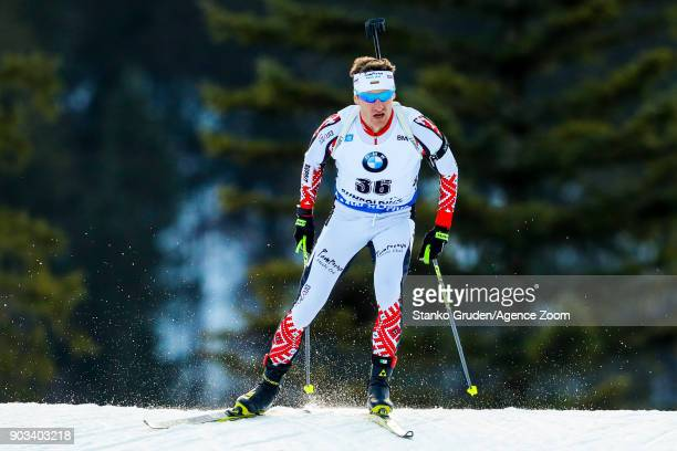 Krasimir Anev of Bulgaria in action during the IBU Biathlon World Cup Men's Individual on January 10 2018 in Ruhpolding Germany