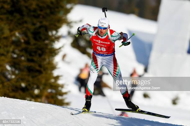 Krasimir Anev of Bulgaria in action during the IBU Biathlon World Championships Men's Sprint on February 11 2017 in Hochfilzen Austria