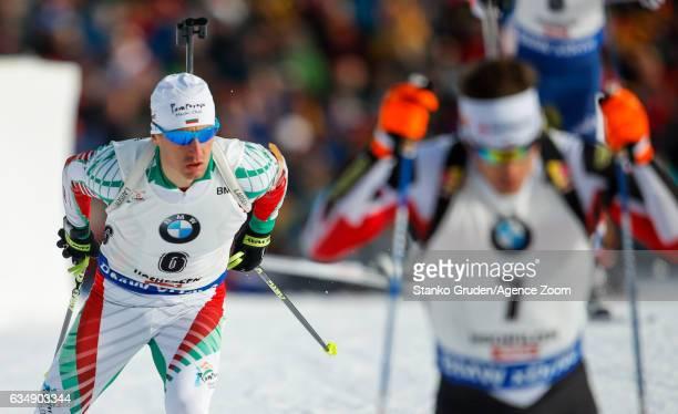 Krasimir Anev of Bulgaria in action during the IBU Biathlon World Championships Men's and Women's Pursuit on February 12 2017 in Hochfilzen Austria