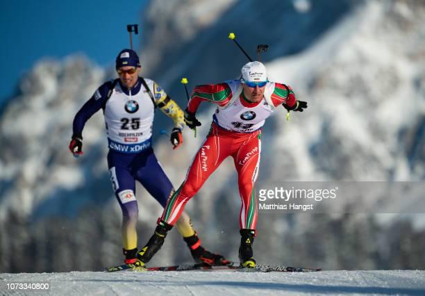 Krasimir Anev of Bulgaria in the IBU Biathlon World Cup Men's 10 km Sprint on December 14 2018 in Hochfilzen Austria