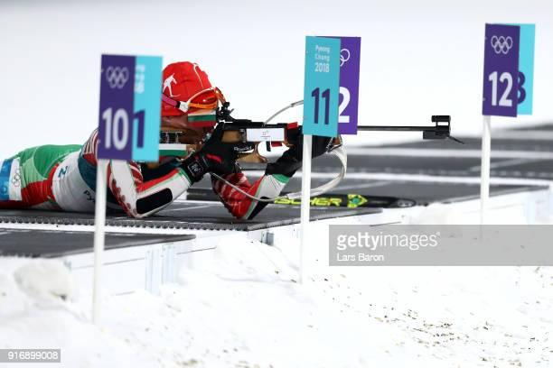 Krasimir Anev of Bulgaria shoots during the Men's 10km Sprint Biathlon on day two of the PyeongChang 2018 Winter Olympic Games at Alpensia Biathlon...