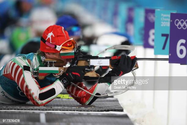 Krasimir Anev of Bulgaria shoots during the Men's Biathlon 125km Pursuit on day three of the PyeongChang 2018 Winter Olympic Games at Alpensia...