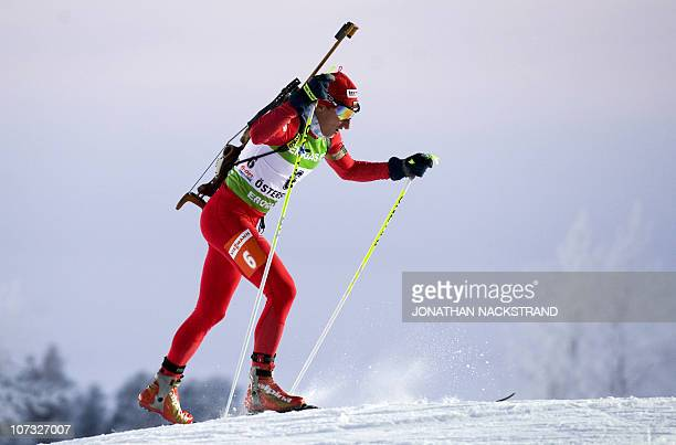 Krasimir Anev of Bulgaria skis on his way to the 24th place during the men's Biathlon 10 km sprint race on December 4 2010 in Oestersund Sweden AFP...
