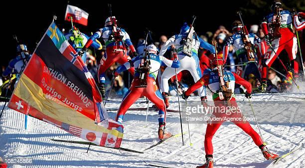 Krasimir Anev of Bulgary skis during the IBU World Cup Biathlon Men's 15 km Mass Start on January 22 2011 in AntholzAnterselva Italy