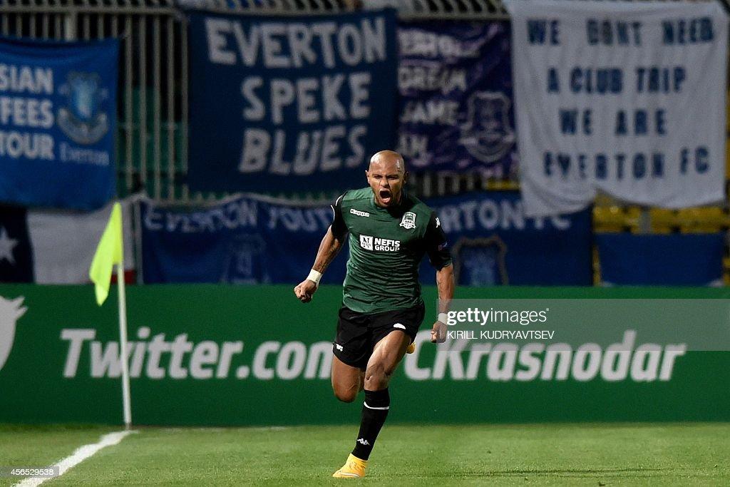 FC Krasnodar's Ari celebrates after scoring a goal during UEFA Europe League group H football match between FC Krasnodar and FC Everton in Krasnodar on October 2, 2014.