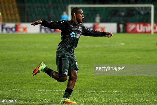 Krasnodar's Brazil midfielder Joaozinho celebrates scoring a goal during the UEFA Europa League group I football match between FC Krasnodar and OGC...