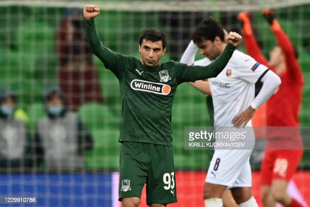 Krasnodar's Russian forward Magomed Suleymanov celebrates after the UEFA Champions League football match between FK Krasnodar and Rennes at the...