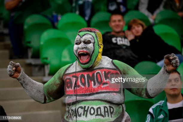 Krasnodar's supporter cheer for his team during the UEFA Europa League group C football match between FK Krasnodar and Getafe CF at Krasnodar Stadium...
