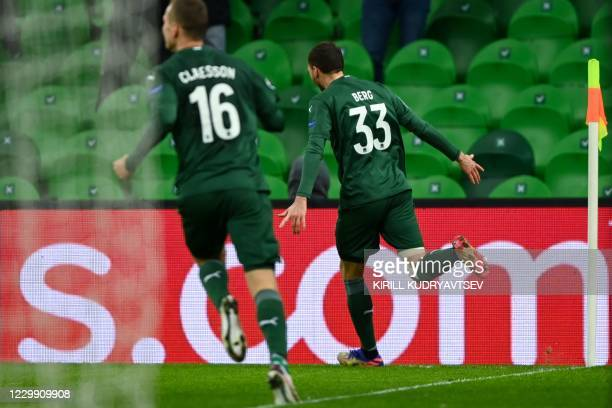 Krasnodar's Swedish forward Marcus Berg celebrates after scoring the opening goal during the UEFA Champions League football match between FK...