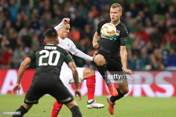 FK Krasnodar's Swedish midfielder Viktor Claesson in action during the UEFA Europa League group J football match between FC Krasnodar and Sevilla FC...