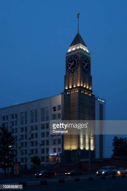 krasnoyarsk big ben - gwengoat stock pictures, royalty-free photos & images
