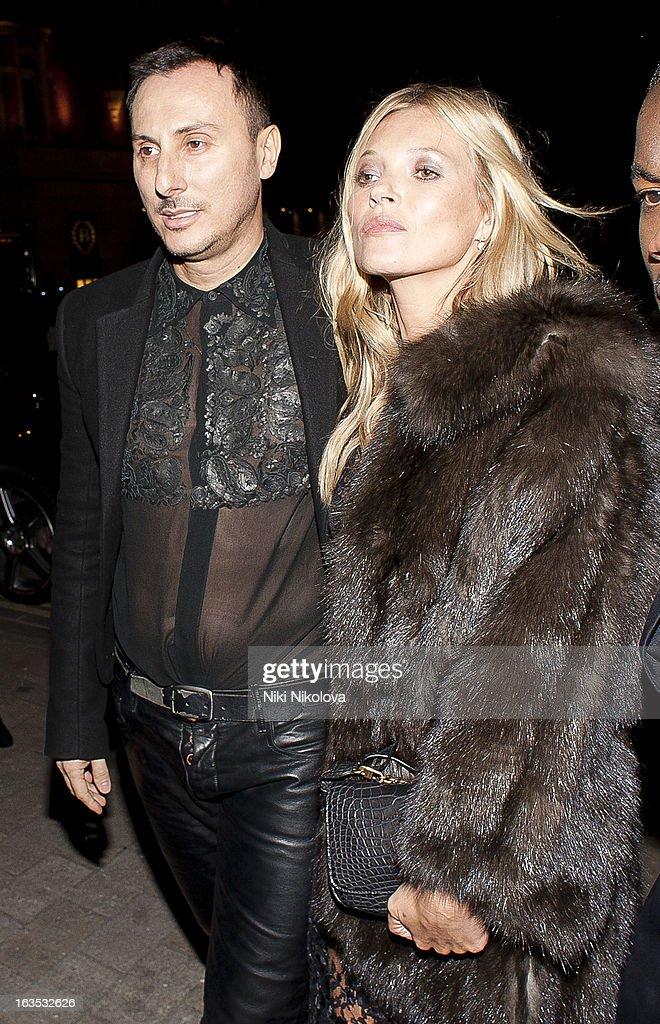 Kérastase's artistic director and studio hairdresser Luigi Murenu and Kate Moss sighting on March 11, 2013 in London, England.