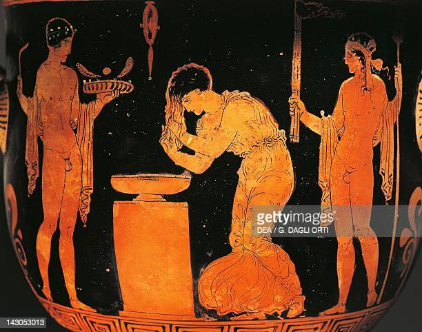 Krater depicting a girl washing her hair redfigure pottery Italy Detail Ancient Greek civilization Magna Graecia 4th Century BC Lecce Museo...
