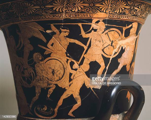 Krater showing a scene of the Battle of the Gods attributed to the potter Polygnotus redfigure pottery Greek Civilization 5th Century BC Ferrara...