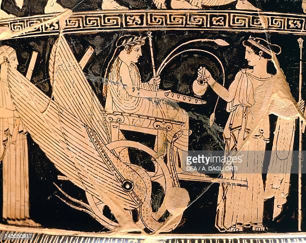 Krater showing a scene of the Eleusis cult with Triptolemus in a winged chariot and Demeter 460 BC attributed to the Niobe painter attic redfigure...