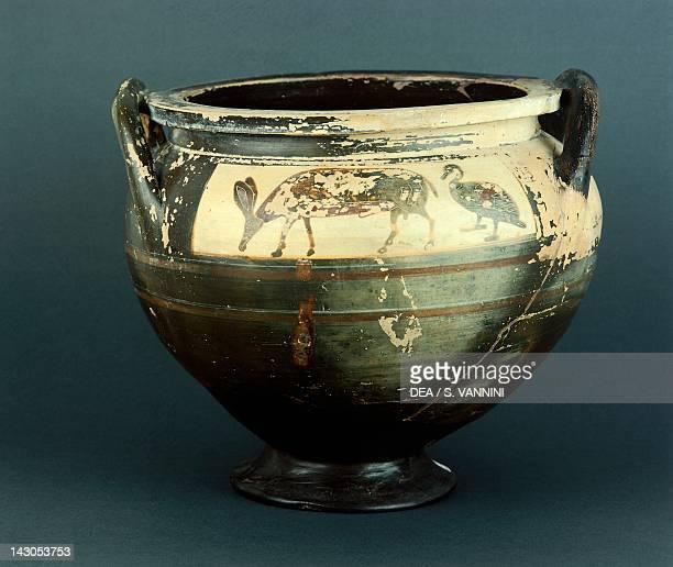 Krater showing zoomorphic motifs, Corinthian pottery from Vulci, Italy. Greek Civilization, 4th Century BC. Grosseto, Museo Archeologico E D'Arte...
