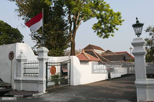 kraton palace complex, side gate - indonesia flag stock photos and pictures