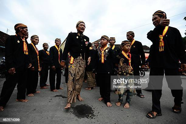 Kraton's Surakarta clerks prepare for Grebeg Maulud at Kemandungan Palace on January 14 2014 in Solo City Indonesia Indonesia celebrates the birth of...