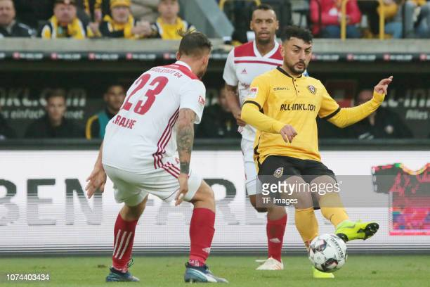 Krause Robin of FC Ingolstadt 04 Aias Aosman of Dynamo Dresden battle for the ball during the Bundesliga match between Dynamo Dresden and FC...