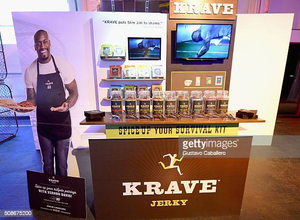 Krave jerky is served during ESPN The Party on February 5 2016 in San Francisco California
