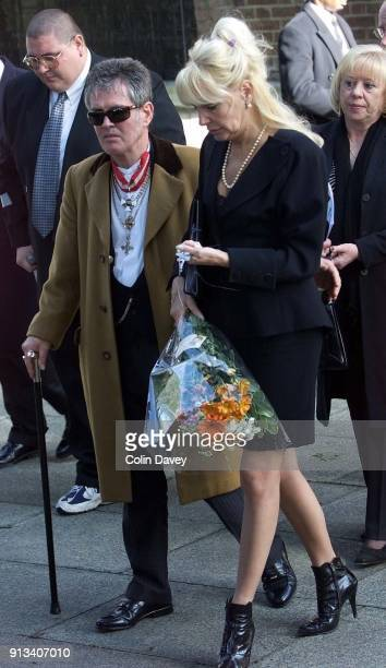 Kray associates Toby Von Judge and former model Maureen Flanagan leaving the church after at Reggie Kray's funeral held at St Matthews Church Bethnal...