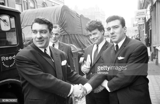 Kray Twins celebrate after being acquitted at the Old Bailey London Monday 5th April 1965 The Kray's were found not guilty and discharged So was...