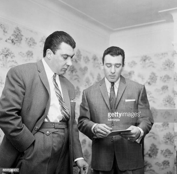 Kray Twins Ronald and Reginald seen here at home after helping police with their inquiries into the Blind Beggar Pub shooting in 1966 6th August 1966
