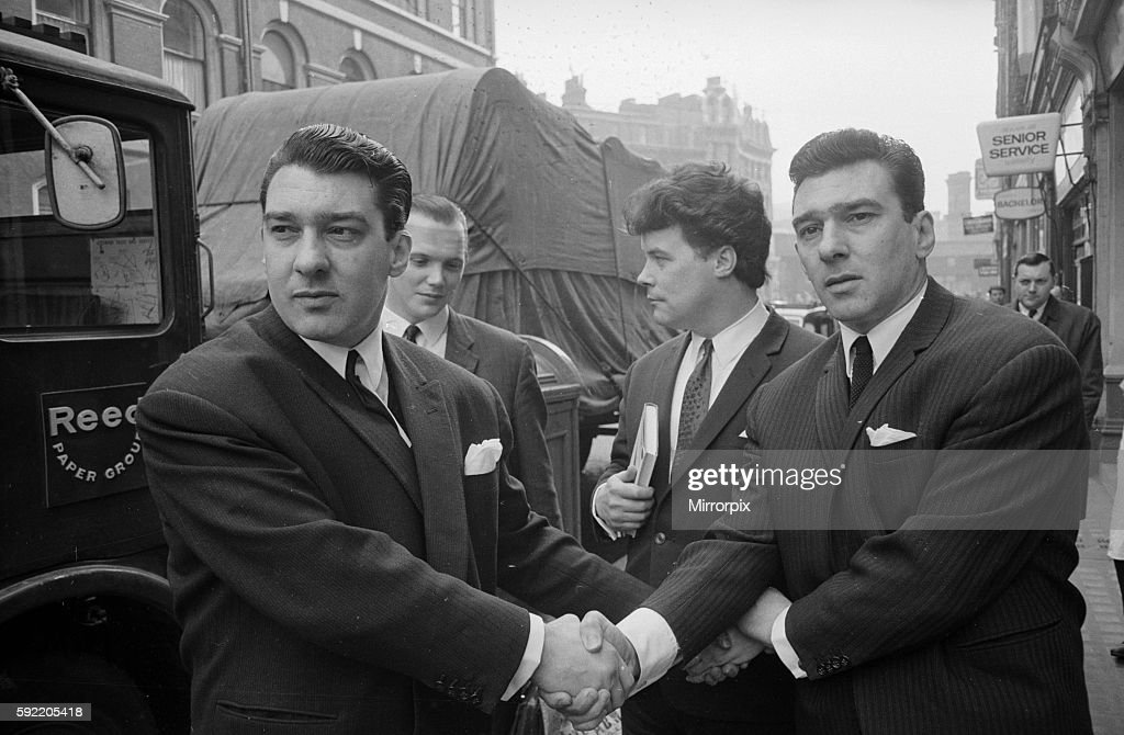 Kray Twins trial. (l-r) Ronald Kray, 'Mad' Teddy Smith and Reggie Kray all acquitted of demanding money with menace. 5th April 1965.
