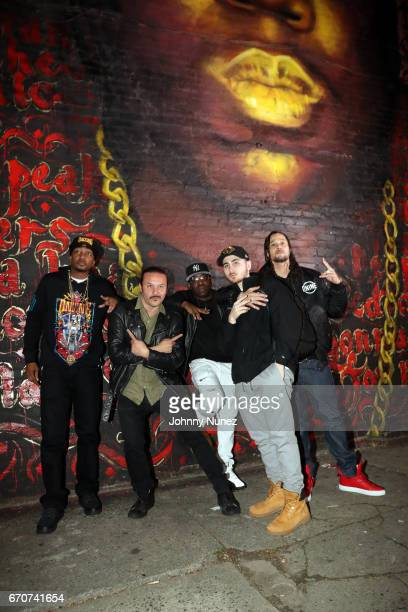 Krayzie Bone Alberto Polo Cretara Uncle Murda RahC and Bizzy Bone on set at the Bone Thugz N Harmony Changed The Story Video Shoot on April 19 2017...