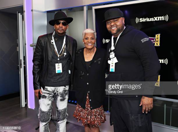 Krayzie Bone Dionne Warwick and Damon Elliott pose for a photo at the SiriusXM studios on March 28 2019 in New York City