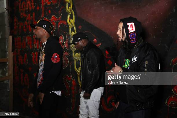 Krayzie Bone Uncle Murda and Bizzy Bone on set at the Bone Thugz N Harmony Changed The Story Video Shoot on April 19 2017 in New York City
