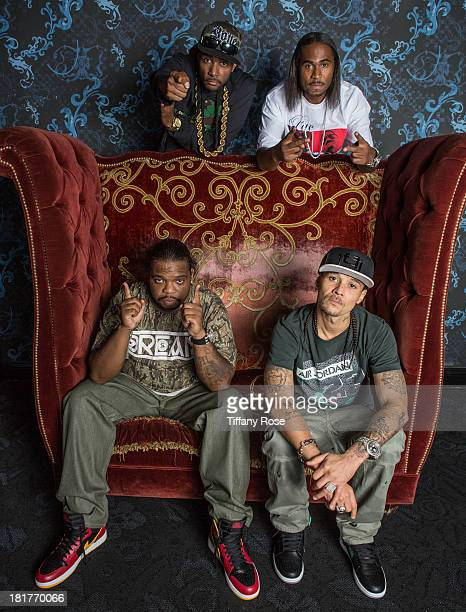 Krayzie Bone Wish Bone FleshnBone and Bizzie Bone of Bone ThugsnHarmony pose for 'Skee Live' at LA Live on September 24 2013 in Los Angeles California
