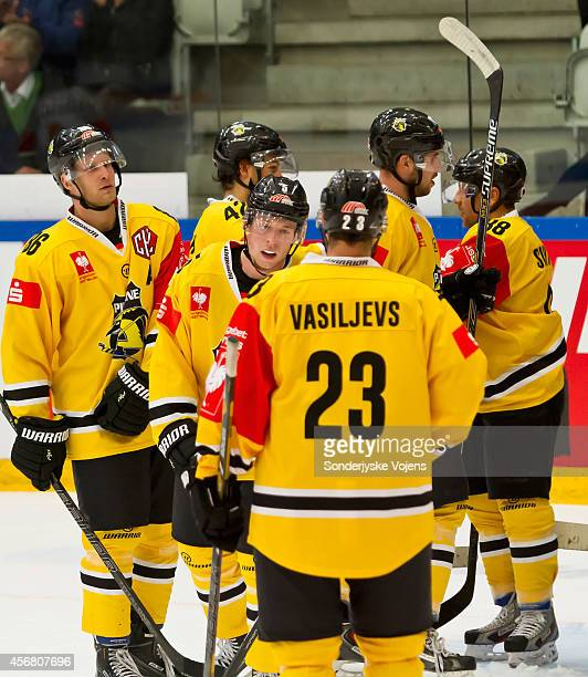 Krefeld Pinguines win the game 4-5 during the Champions Hockey League group stage game between Sonderjyske Vojens and Krefeld Pinguine on October 7,...