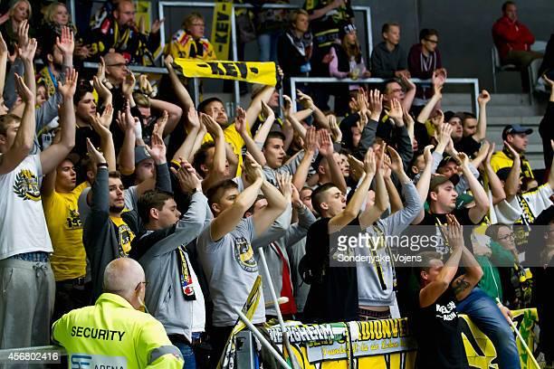 Krefeld supporters cheer against the Vojens during the Champions Hockey League group stage game between Sonderjyske Vojens and Krefeld Pinguine on...
