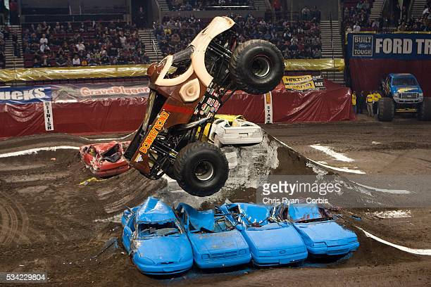Kreg Christensen catches air while driving Donkey Kong during a Monster Jam event at Rose Garden arena in Portland