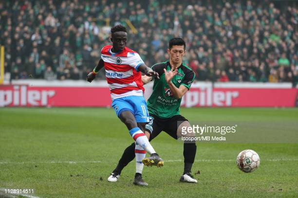 Krepin Diatta of Club Brugge and Naomichi Ueda of Cercle fight for the ball during the Jupiler Pro League match between Cercle Brugge KSV and Club...