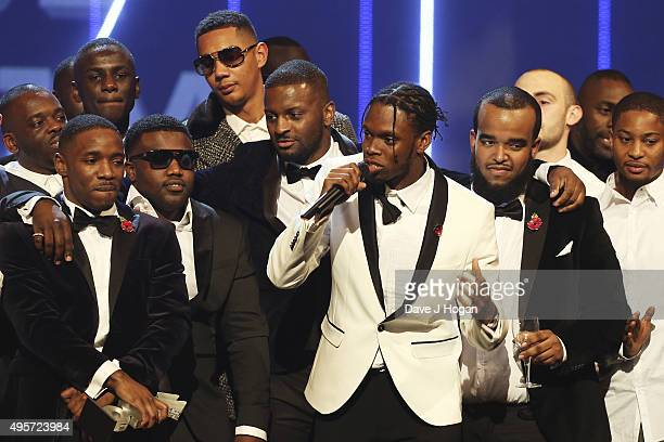 Krept and Konan accept their award for Best Album during the MOBO Awards at First Direct Arena on November 4, 2015 in Leeds, England.