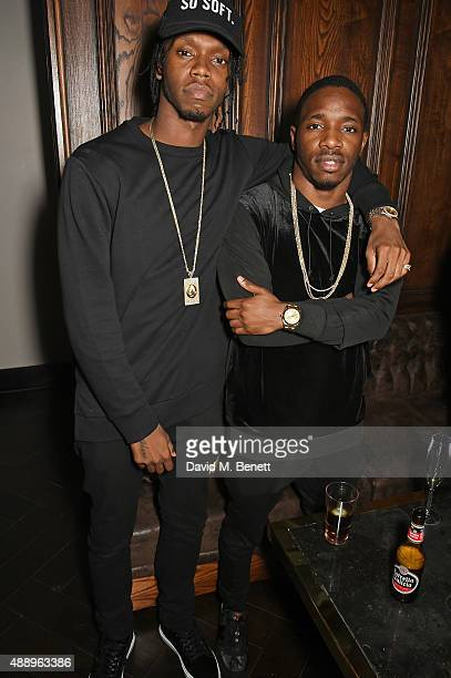 Krept and Konan attend the Hunger Magazine Issue 9 Launch Party with Crystal Head Vodka during at the Tape London Members Club London Fashion Week on...