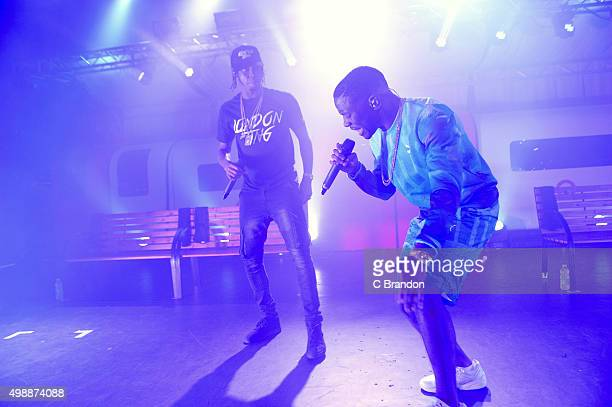 Krept and Konan perform on stage at the O2 Shepherd's Bush Empire on November 26 2015 in London England