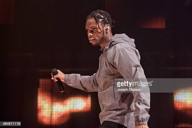 Krept of Krept and Konan performs at the KISS FM Haunted House Party at SSE Arena on October 29 2015 in London England