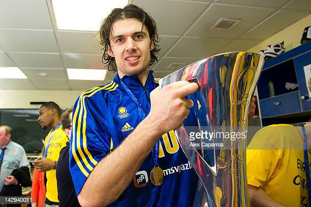 Kresimir Loncar, #10 of BC Khimki Moscow Region celebrates in the locker room during the 2012 Eurocup Basketball Champion Award Ceremony at...