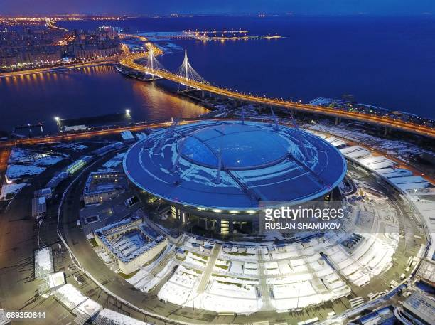 Krestovsky football stadium, also known as Zenit Arena, under construction for the 2018 FIFA World Cup, is pictured in Saint Petersburg on April 15,...
