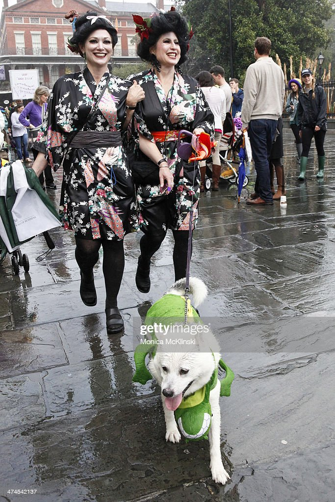 A krewe member and their human escort march with The Mystic Krewe of Barkus, a non-profit organization that supports animal welfare groups on February 23, 2014 in New Orleans, Louisiana. DOGZILLA - Barkus Licks the Crescent City was the theme of the 22nd Mystic Krewe of Barkus Parade.