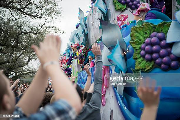 krewe of endymion mardi gras parade on canal street - mardi gras float stock pictures, royalty-free photos & images