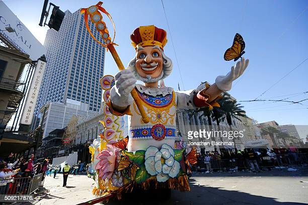 Krewe of Rex parades down St Charles Avenue during Mardi Gras day on February 9 2016 in New Orleans Louisiana Fat Tuesday or Mardi Gras in French is...
