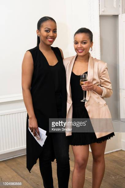 Kria McKenzie and Fashion designer Shanna Bent at the Maison Bent AW20 Presentation at Pushkin House on February 06 2020 in London England