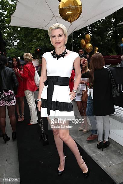 Kriemhild Siegel wearing a dress by Joana Danciu during the Fashion De Luxe Party presented by Joana Danciu Felix W at P1 on June 9 2015 in Munich...