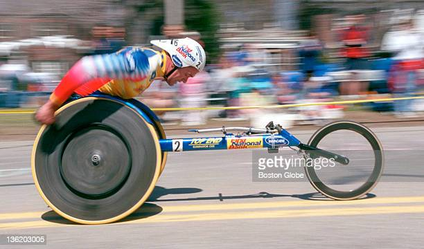 Krige Schabort of Georgia climbs Heartbreak Hill on his way to a second place finish in the men's wheelchair division of the Boston Marathon