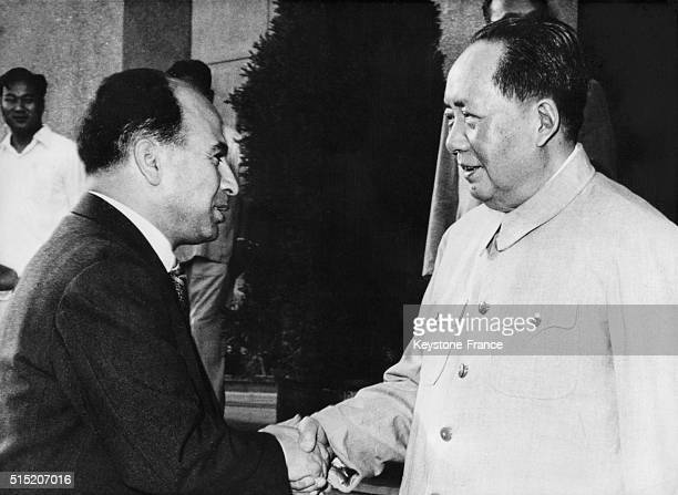 Krim Belkacem of the Algerian Provisional Government with Mao Tse Toung in Beijing China circa 1950